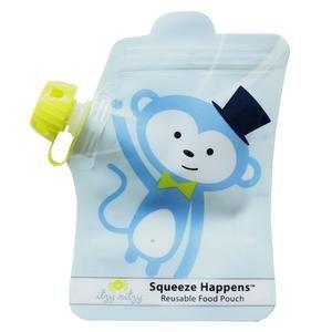 Itzy Ritzy_Squeeze Happens_Reusable Food Pouch_Monkey (1).300w www.pennyfarthingkids.com.au #pennyfarthingkids  #babies #foodpouch