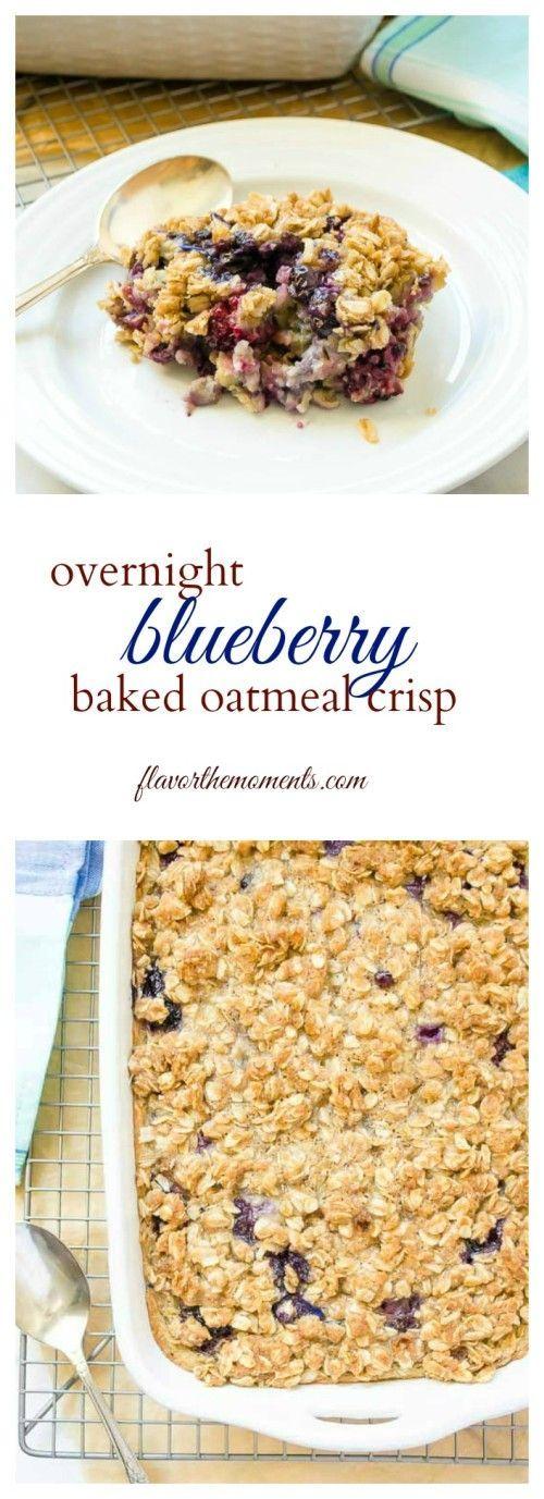 Overnight Blueberry Baked Oatmeal Crisp combines baked oatmeal and blueberry crisp for the ultimate make-ahead breakfast! @FlavortheMoment