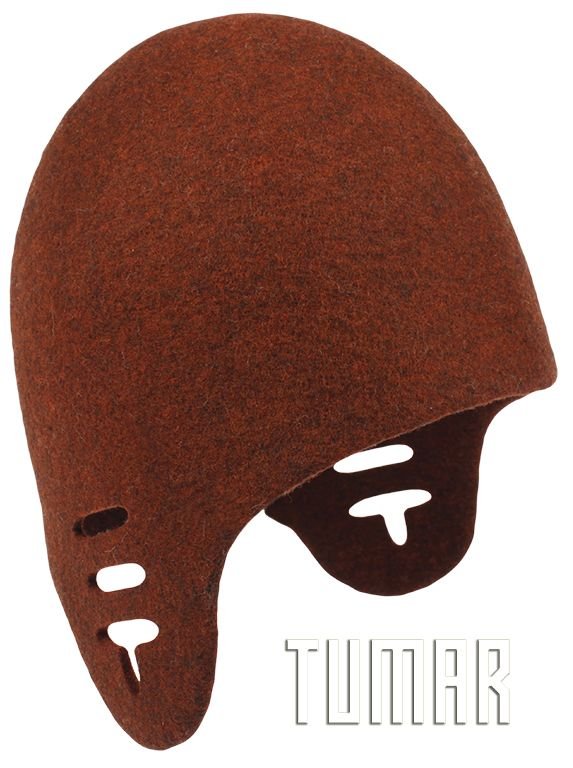 Hat with ears and perforation. Felt - 100% wool. Handmade, solid-rolled. Technique - resist felting + perforation. Color: brown mélange. Catalogue: Going Wild, 2016. Tumar Art Group.