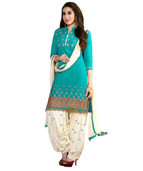 Buy EthnicBasket Sky Blue Colored Art Silk Print Unstitched Salwar…