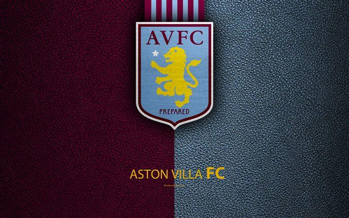 Download wallpapers Aston Villa FC, 4K, English football club, logo, Football League Championship, leather texture, Witton, Birmingham, United Kingdom, football, Second English Division