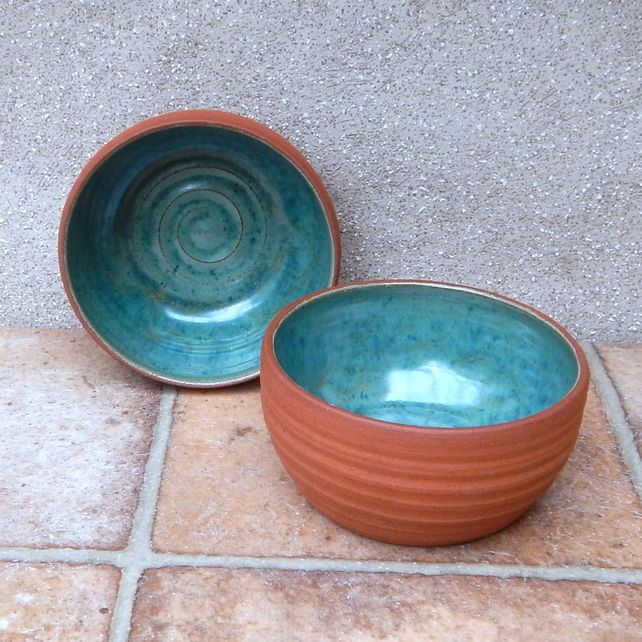 Pair of small serving bowls .....wheel thrown in terracotta pottery