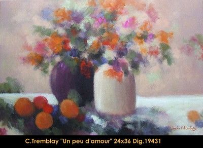 Original acrylic painting on canevas by Claude Tremblay #claudetremblay #art #fineart #figurativeart #artist #canadianartist #quebecartist #landscape #flowervases #originalpainting #acrylicpaining #balcondart #multiartltee