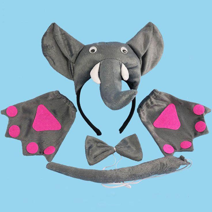 2017 Boy Grey 3D Elephant Animal Headband Ears Bow Tie Tail Paws Set Masquerade Halloween Carnival Party Christmas #Affiliate