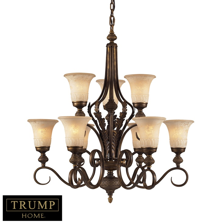 Elk 2480 6 3 trump home 9 light chandelier in a weathered umber finish