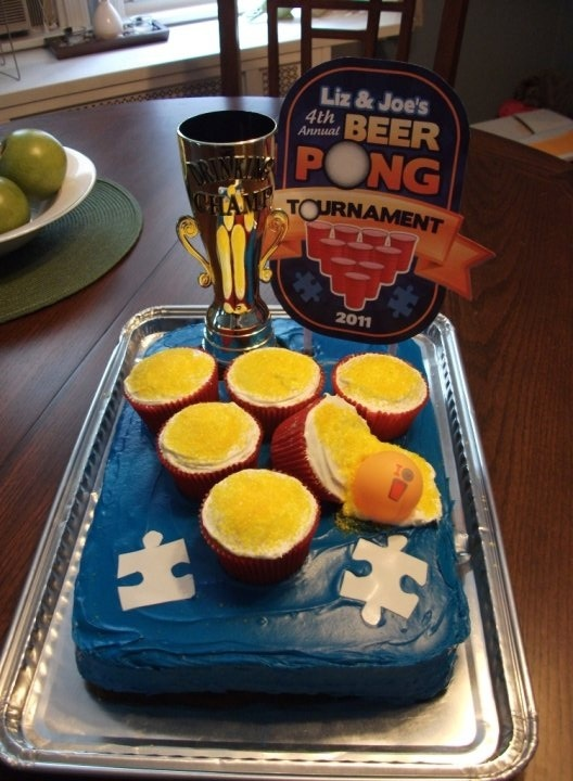 Ummm, this is interesting.  Beer pong cake