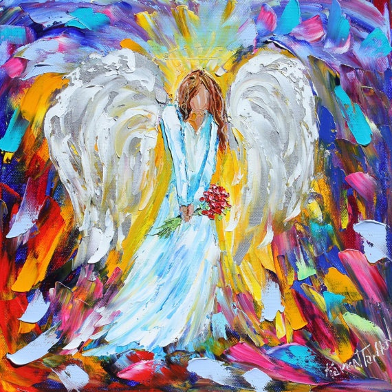 Original oil ANGEL PALETTE KNiFE painting modern by Karensfineart, $99.00