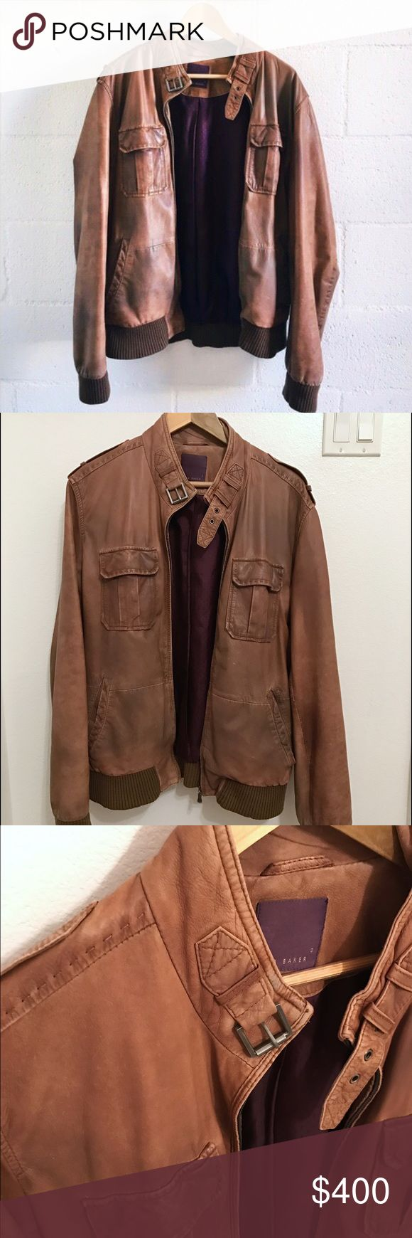Ted Baker Brown Leather Jacket This size 3, leather Ted Baker jacket is well worn, the leather is supple and soft (leather gets better with age!). It's a Ted Baker size 3, or a men's medium in regular speech. Ted Baker Jackets & Coats Bomber & Varsity