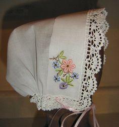 Easiest baby bonnet-great as a quick gift idea: http://www.sadiasews.com/hc2bonnet.html