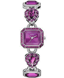 GUESS Watch, Women's Purple Crystal-Accent Silver-Tone Bracelet 23x25mm U0222L4 $135.00