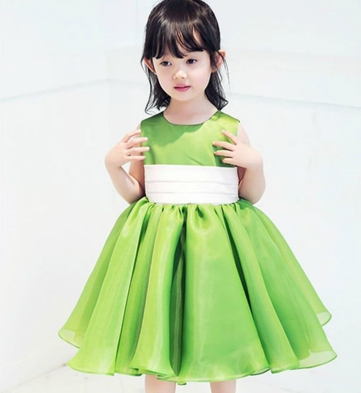 Apple Green Dress--Made To Order - High Quality Simple Round Neckline Sleeveless Knee Length Little Girl Puffy Dress With Big Ivory Sash Belt. Available from 9 months until 8 years old. Material: Cotton, soft polyester fiber, satin. Color: Apple Green. Please do compare your  little girl measurements with our size chart below before deciding her size.