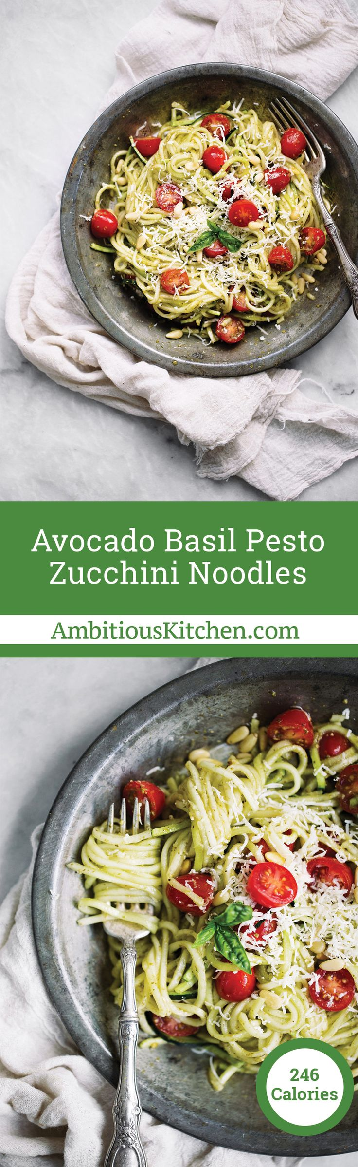 Fabulous and healthy zucchini noodles with a quick and easy avocado basil pesto sauce. Enjoy with grilled chicken for a full meal.