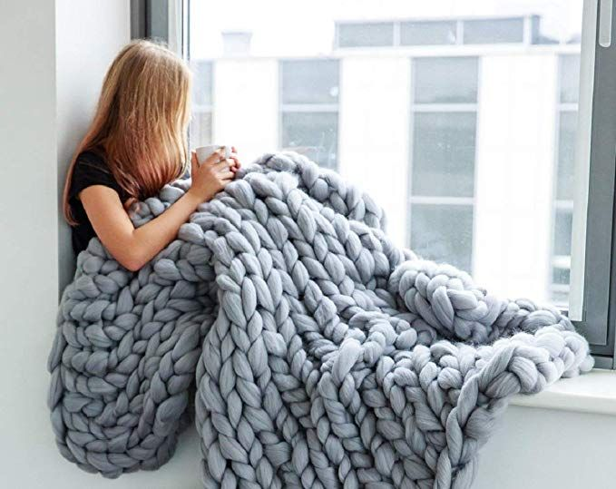 Dirunen Chunky Knit Blanket Wool Arm Knitted Throw Super Large Hand Made Knitting Yarn Pet Bed Chair Sofa Yog Knitted Blankets Knitted Throws Chunky Knit Throw