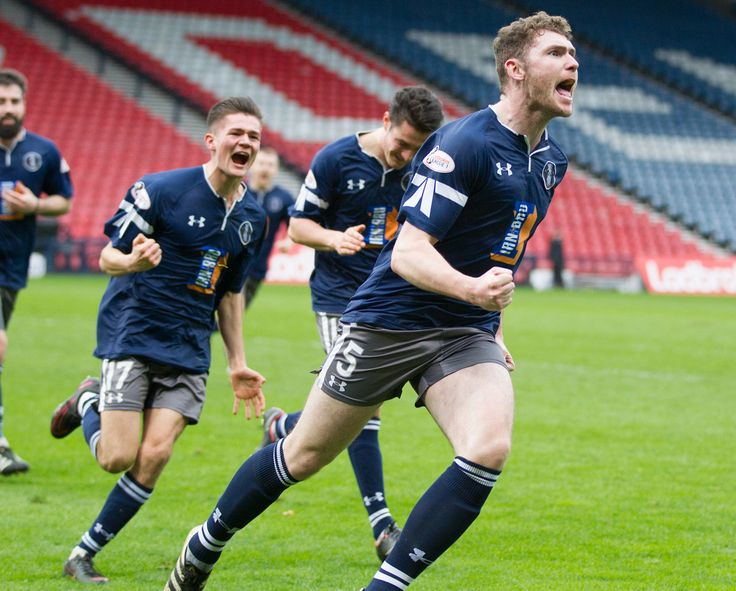 Queen's Park's Ryan McGeever celebrates his goal during the Ladbrokes League One game between Queen's Park and Brechin City.