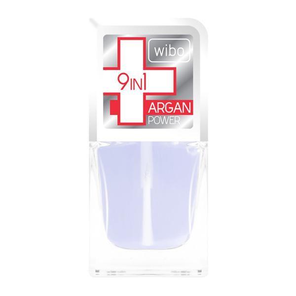 Odżywka 9 in1 with ARGAN POWER   Zawiera:  Keratynę, która jest budulcem paznokcia, wzmacnia go i utwardza  argininę, która jest jednym z naturalnych składników nawilżających  wit E poprawia kondycję płytki paznokcia, zapewnia działanie anty-agenig, przeciwdziała wolnym rodnikom  ekstarkt z algi Laminaria Ochroeuca znana również jako złota alga, zapewnia działanie ochronne przed promieniami UV, działa przeciwzapalnie.  żywicę ,   http://www.wibo.pl/pl/p-450-Odzywka+9+in1+with+Argan+Power