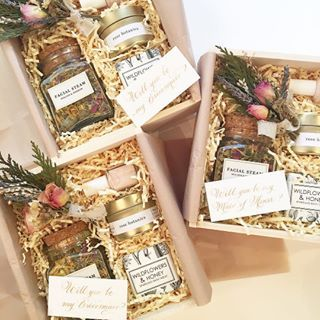 Bridesmaid proposal boxes from Loved and Found. Will you be my bridesmaid?