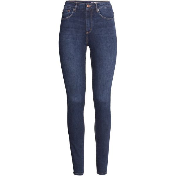 H&M Skinny High Jeans ($23) ❤ liked on Polyvore featuring jeans, pants, bottoms, calças, trousers, dark denim blue, high rise skinny jeans, high-waisted jeans, blue jeans and super skinny jeans