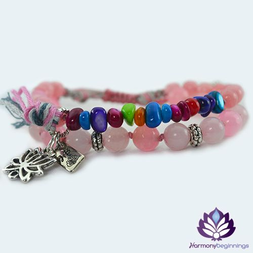 Our Pink Lotus bracelet has been designed with Morganite and Rose Quartz Gemstones. Accented with multi-colour shell chips. Loving vibrations with this vibrant bracelet. Attune to the universal soothing and loving energies all around, heal the heart and upper chakras from within ~ attract and keep love strong with these amazing stones. Stack it together with a Blue ...