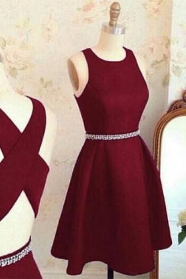 Short A line homecoming dress,burgundy homecoming dress,cross back short party dress,cocktail dresses, homecoming dresses