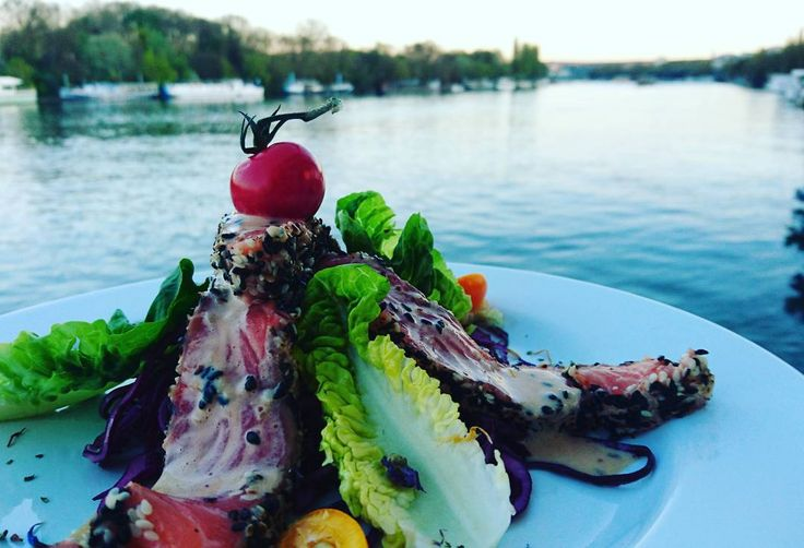 Tataki de saumon en bord de Seine #suresnes #restaurant #aquacaffe #tataki #cuisine #picoftheday by cheftotore
