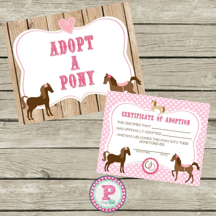 Adopt a Pony Sign and Adoption Certificate, Instant Download for a Horse Birthday Party.