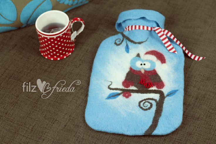 ♥ Eugen die Frost(B)Eule kuschelige Wärmflasche ♥  von filzfrieda ... handgefilzte fröhlichmacher! auf DaWanda.com