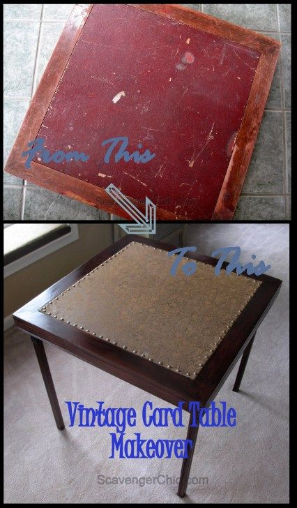 Vintage Card Table Makeover, Before and After