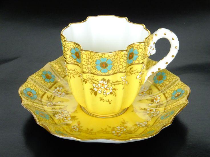 Porcelain cup and saucer set by Coalport, England 1880-1910