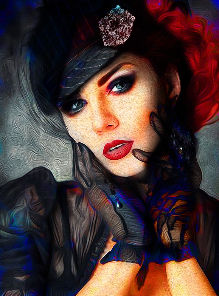 """A digital artwork called """"lady with red hat"""""""