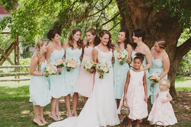 Mint Green and Pink Wedding. Such a dreamy colour palette at this wedding ~ seafoam, pale pink and coral.