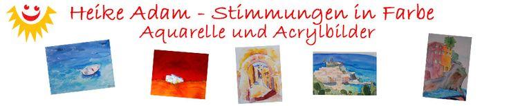 http://de.dawanda.com/shop/Heike-Adam-Stimmungen-in-Farbe  Meine Kunstwerke male ich mit viel Liebe und Leidenschaft nach eigenen Ideen und Motiven, jedes ist ein Unikat. Ich male meine Bilder im Freien und im Atelier mit hochwertigen Künstleraquarell- und -acrylfarben auf Aquarellpapier und Leinwand. Viele meiner Kunstwerke sind auf meinen Malreisen, vor allem nach Italien entstanden. Farben spielen in meinem Leben wie auch in meinen Bildern die Hauptrolle!