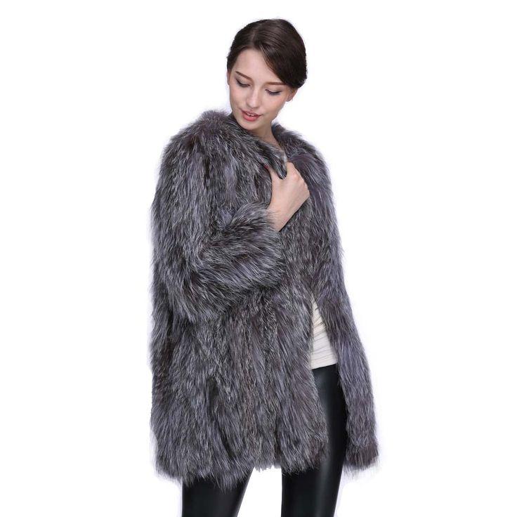 Natural Silver Fox Fur Knit Garment Women basic coats Real Fur Coat Knitted Fur Fox Hair Long Overcoat 3 Colors S-7XL