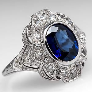 1920's Antique Blue Sapphire & Old Euro Cut Diamond Engagement Ring Platinum