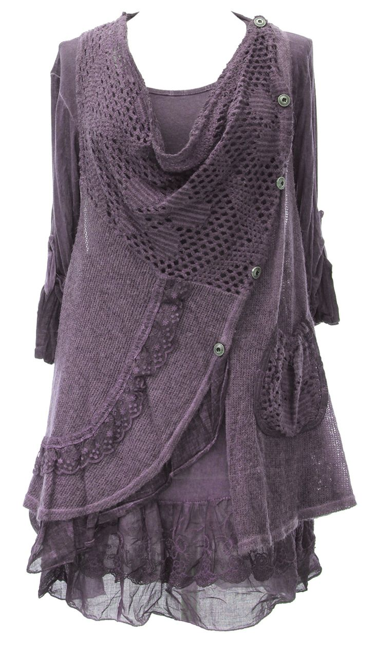 Ladies Womens Italian Lagenlook Quirky Layering Side Button 2 Piece Lace Knit Lana Long Sleeves Tunic Top Dress One Size Plus (UK 10-18) (One Size Plus, Purple): Amazon.co.uk: Clothing