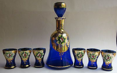 Vintage Bohemian/Czech Decanter  set