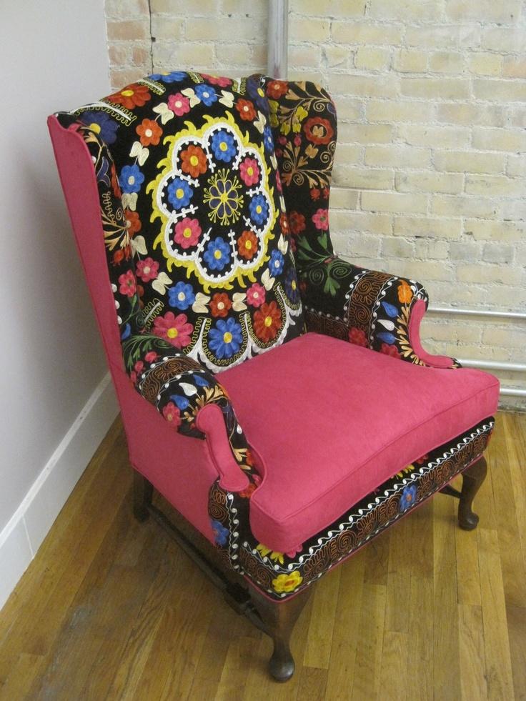 refurbished vintage suzani wingback chair via etsy