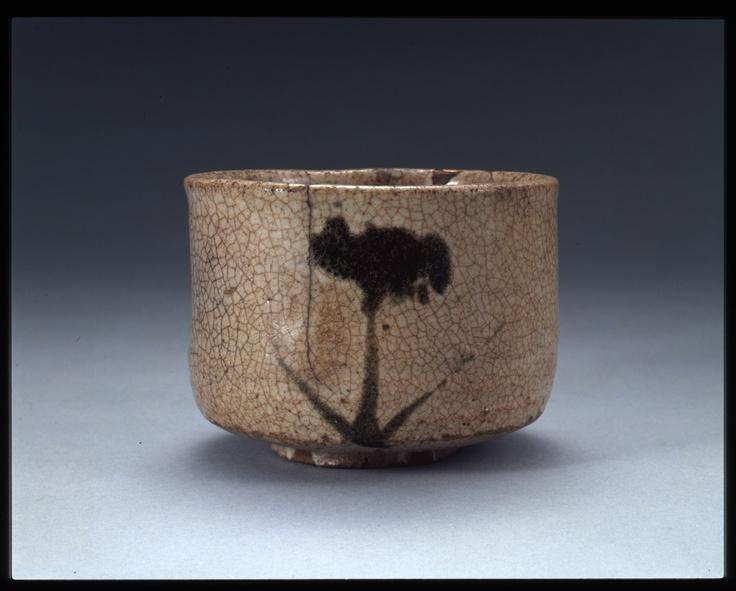 Karatsu teabowl with iris painting, 17th century, Japan
