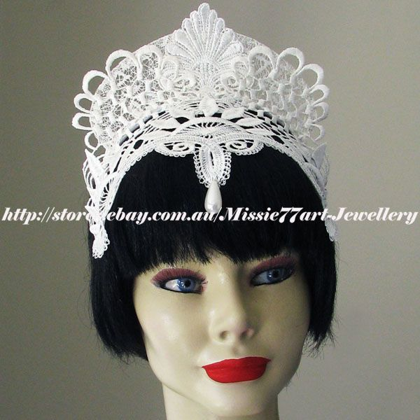 Medieval inspired wedding bliss! White lace crown by Missie77art Jewellery ebay