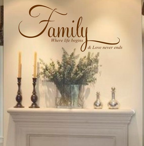 Family Wall Quote Wall Art Vinyl Decal Vinyl Lettering Where life begins and love never ends