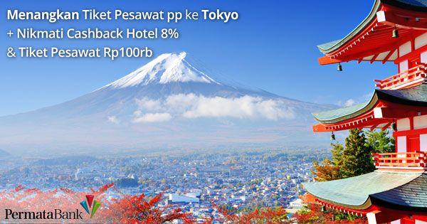 Menangkan 2 #tiketpesawat Jakarta - Tokyo PP di promo kartu kredit Bank Permata. Nikmati juga cashback 8% (sebelum pajak) untuk pemesanan #Hotel dan cashback hingga Rp. 100 ribu untuk pemesanan #tiketpesawat. Kunjungi halaman promo nya di http://goo.gl/qknw79 atau www.nusatrip.com/permata  *syarat dan ketentuan berlaku