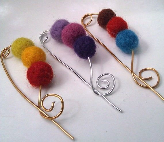 Shawl pin wool felted balls and wire--beads would be pretty too