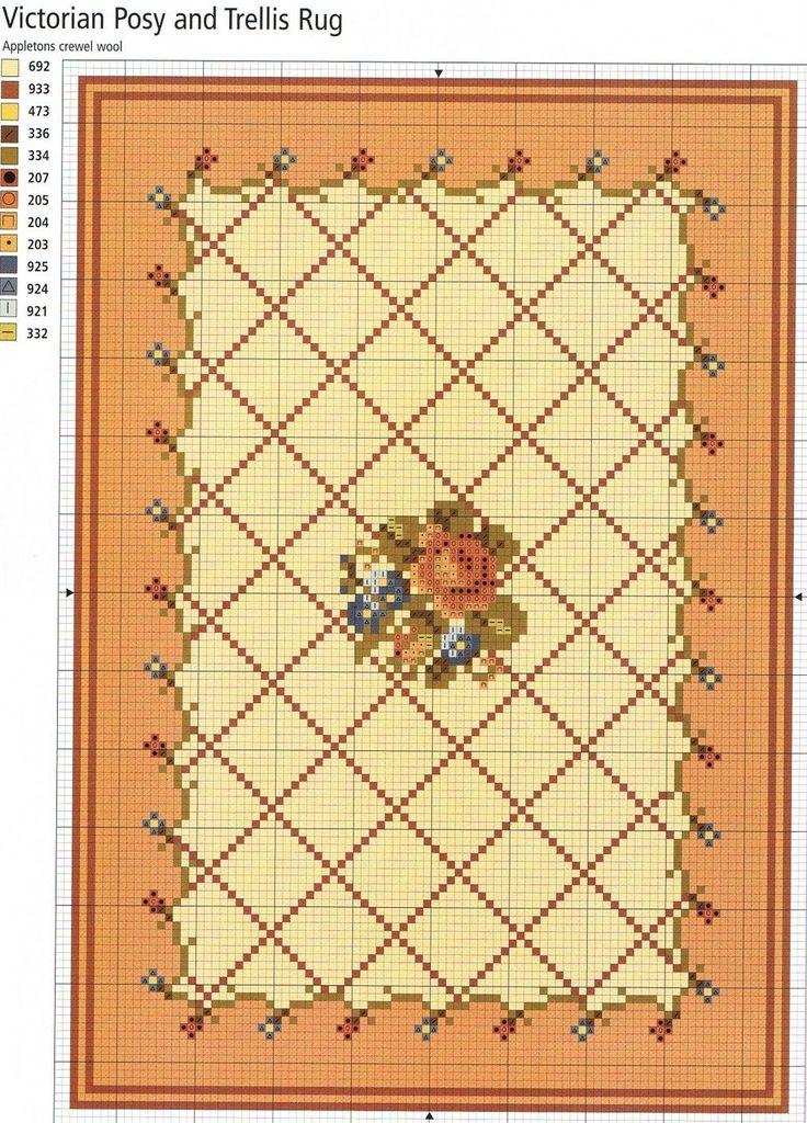 miniature needlework chart (link here: http://rakelminis.blogspot.com/2011/04/esquema-alfombra-punto-de-cruz.html )