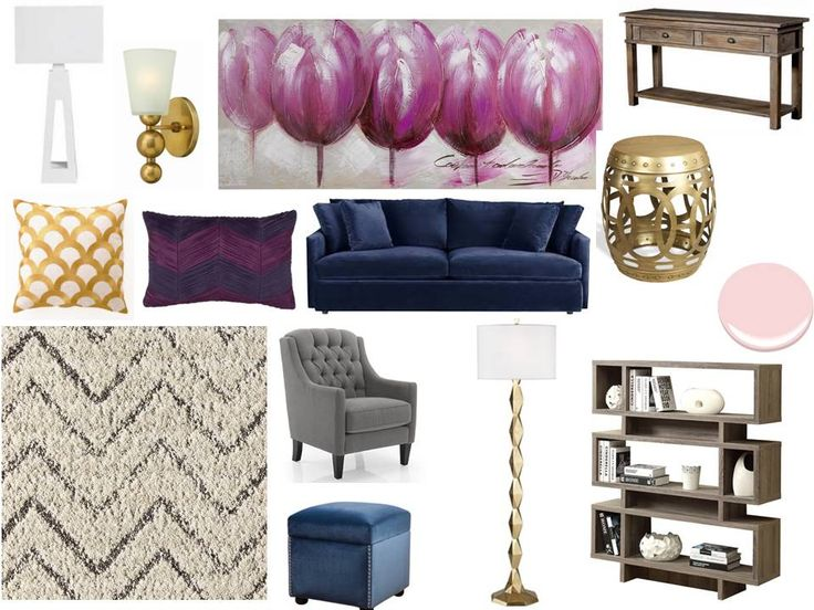 pattern gold, navy, pops of purple a perfect feminine retreat for a client with a house full of boys! Interior decorating. home decor. home decoration. home styling. e-decor