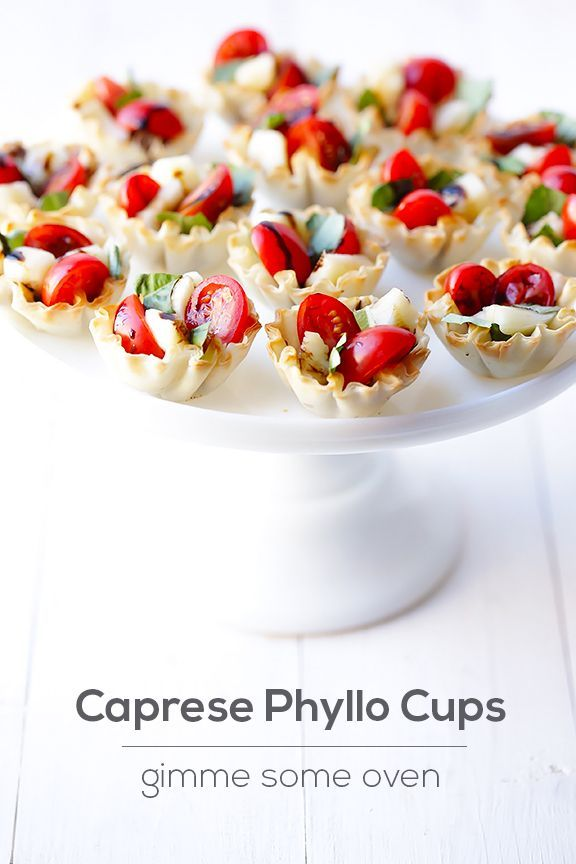 Caprese Phyllo Cups | Pretty tea party snack