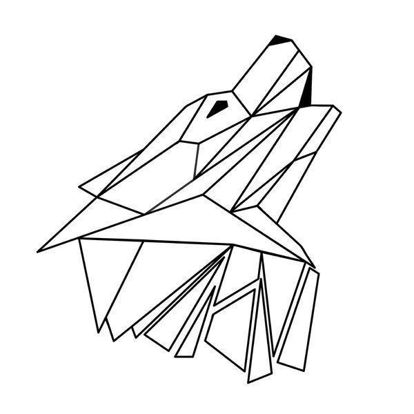 Geometric Wolf Outline Art Print
