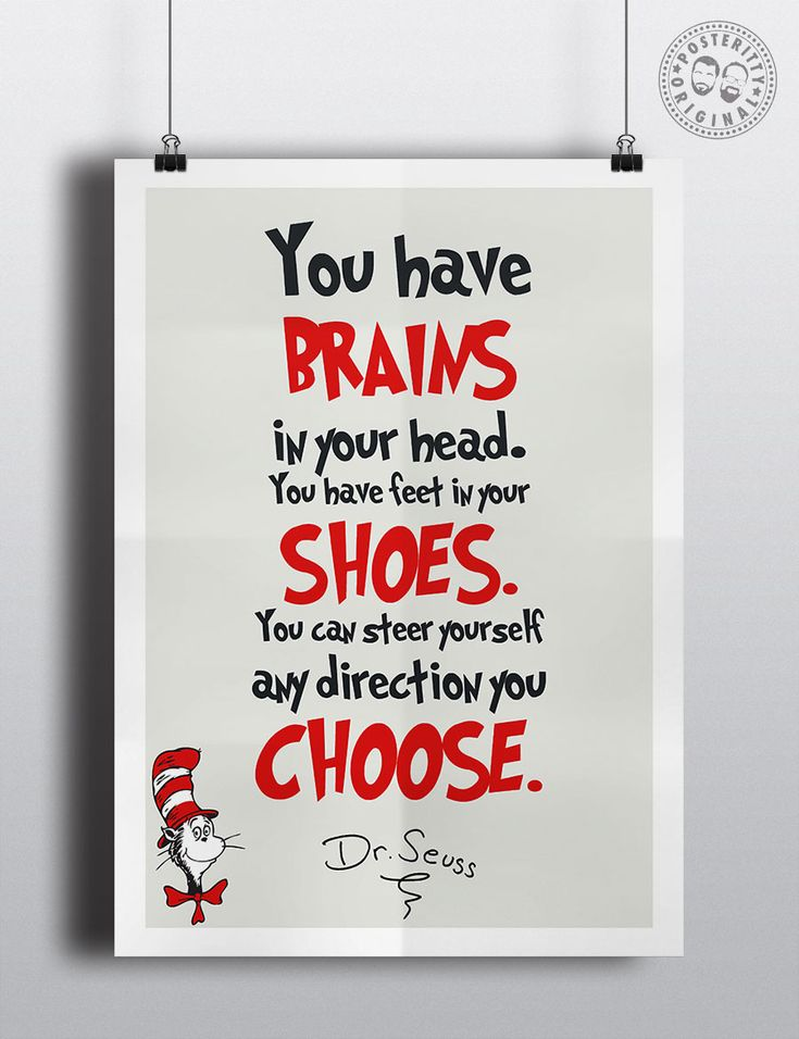 Dr Seuss Nursery Wall Decoration Inspirational Quotes #DrSeuss #Posteritty #GreatQuotes #Catinthehat #MinimalistPosters