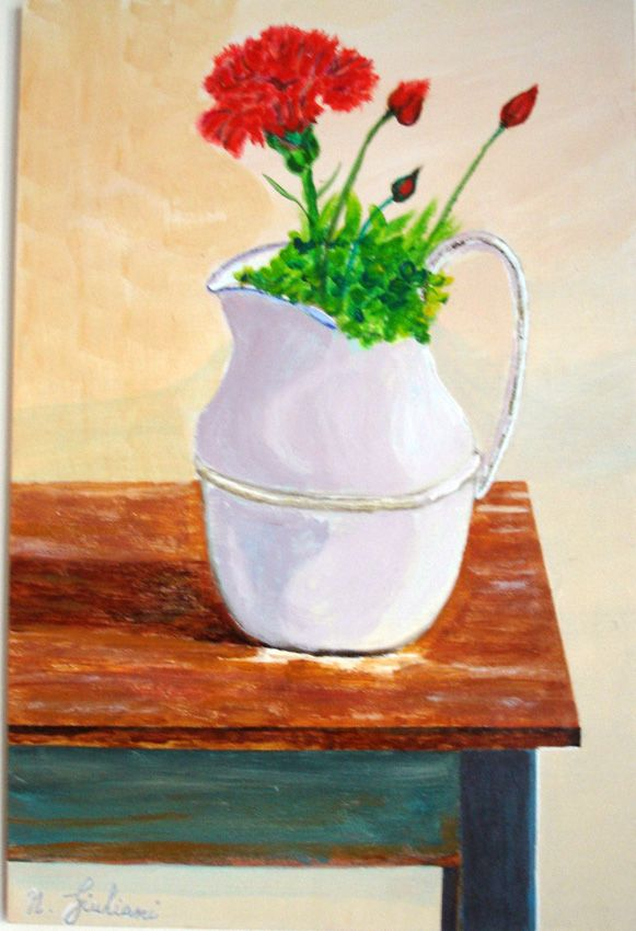 Acrilico su legno: brocca con garofano sul tavolo della nonna
