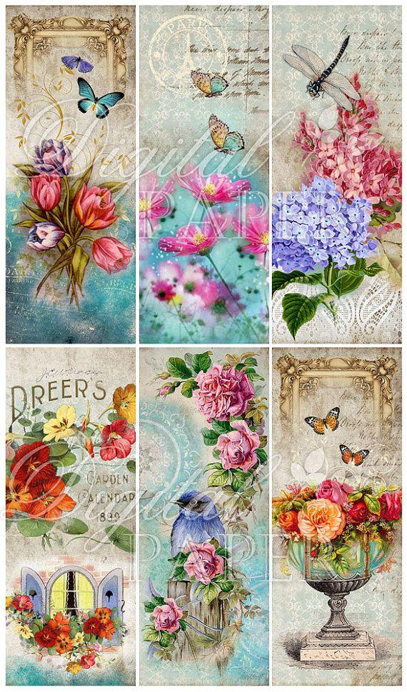 Stories Floral  set of 6 bookmarks  digital by bydigitalpaper, $4.35