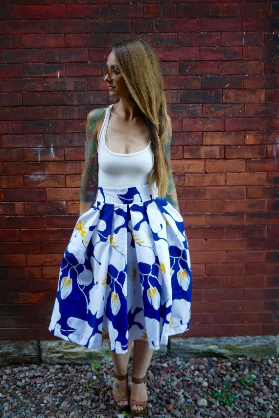 Vintage Pleated Midi SkirtFull SkirtParty by Clementinyclothing