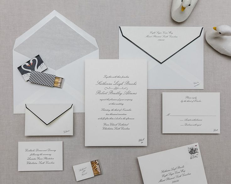 Just a Detail. Downing Street: Classic, yet modern. This suite is perfectly punctuated – the envelope flaps are piped in black, and mini-messages of angled type subtly reside in the corner of each card. Cheree Berry Paper